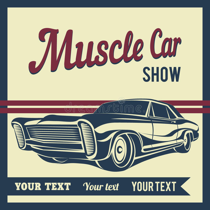 Illustration de vecteur d'affiche d'exposition de muscle de voiture illustration libre de droits
