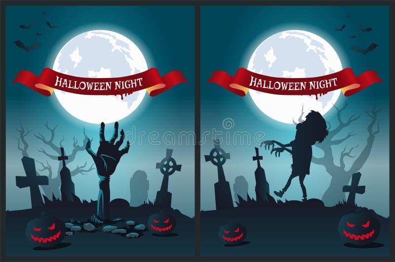 Illustration de vecteur d'affiche de nuit de Halloween illustration stock