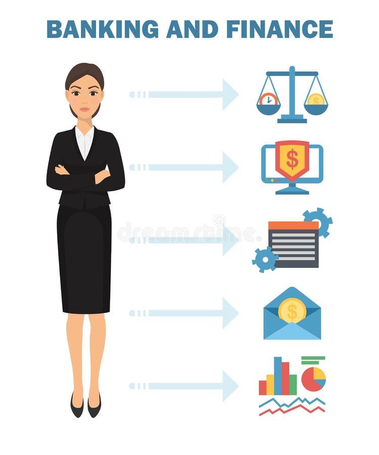 Illustration de vecteur d'affiche d'opérations bancaires et de finances Échelles avec du temps et l'argent Stratégie, planificati illustration stock