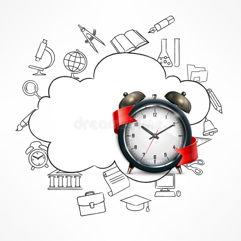 Illustration de vecteur d'alarme de temps d'école illustration stock