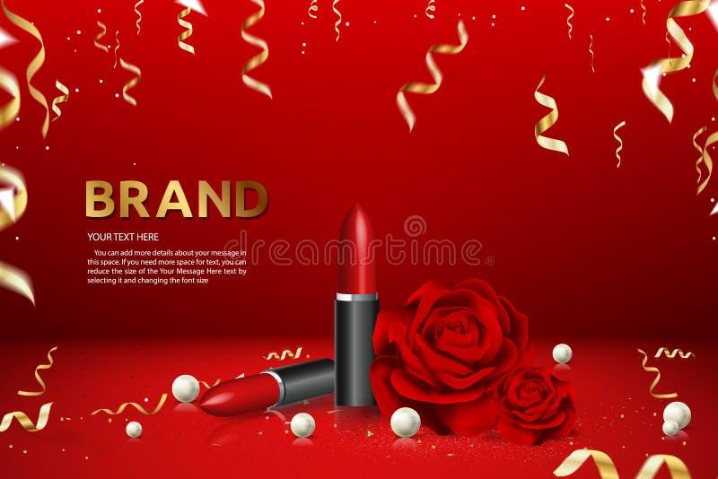 Illustration de vecteur d'annonce de produit de marque de bannière de la publicité de rouge à lèvres illustration stock