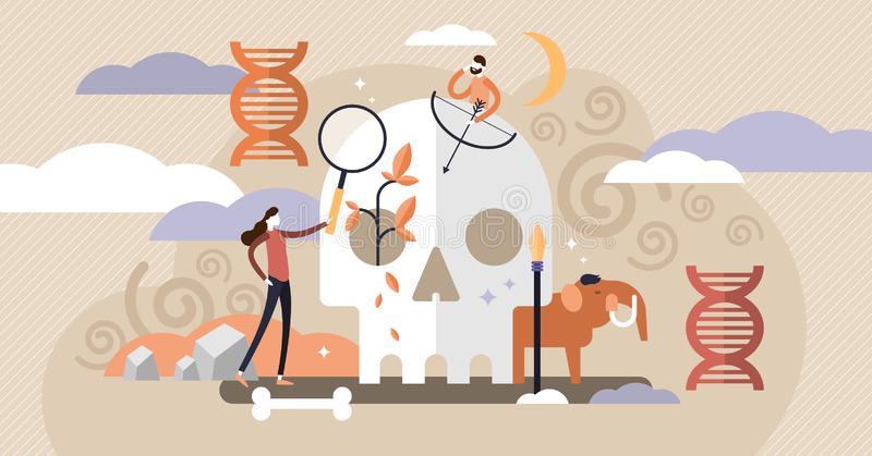Illustration de vecteur d'anthropologie Mini concept antique de personnes avec le crâne illustration de vecteur