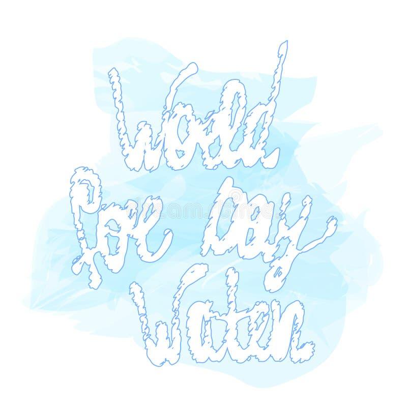 Illustration de vecteur d'aquarelle de jour de l'eau du monde avec le lettrage Marine d'isolement illustration stock