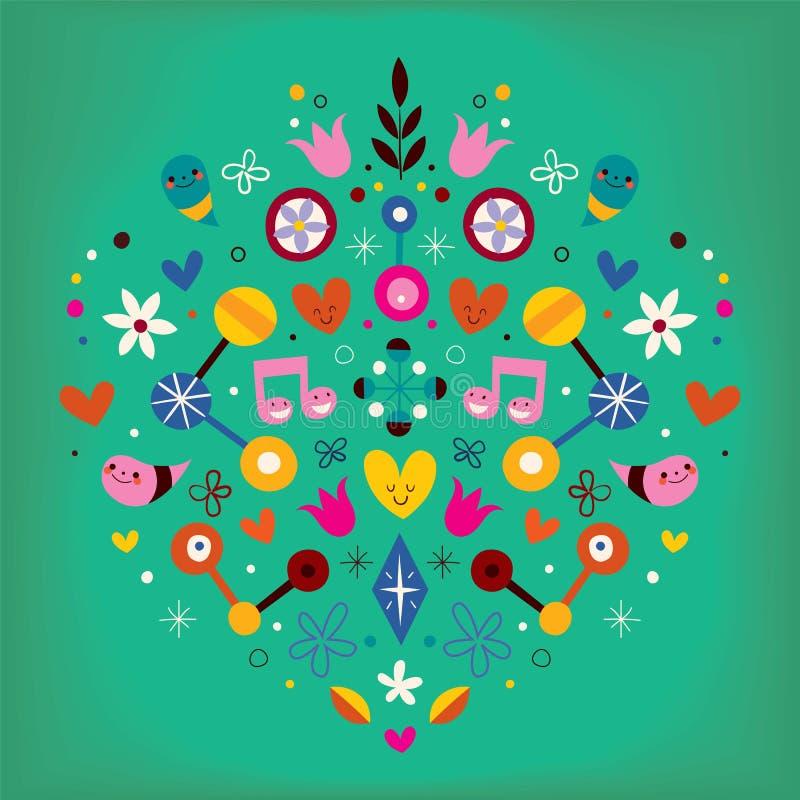 Illustration de vecteur d'art abstrait de coeur d'harmonie d'amour de nature rétro illustration stock