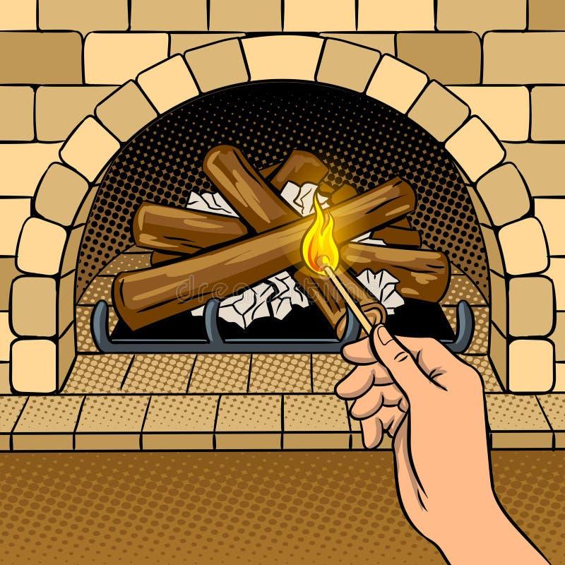 Illustration de vecteur d'art de bruit de main de match de cheminée illustration stock