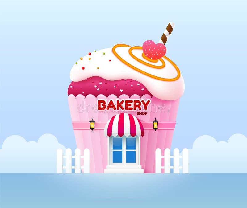 Illustration de vecteur d'avant de bâtiment de boutique de boulangerie illustration libre de droits