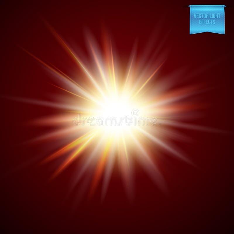 Illustration de vecteur d'effet de la lumière ardent lumineux de starburst illustration libre de droits