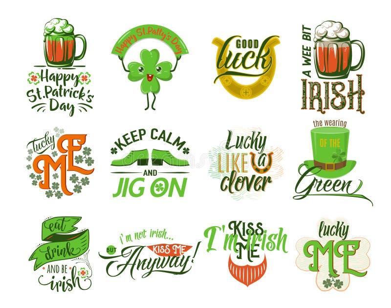 Illustration de vecteur d'ensemble heureux de logo de jour de Patrick illustration stock