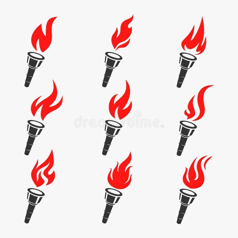 Illustration de vecteur d'ensemble de symbole de torche illustration de vecteur