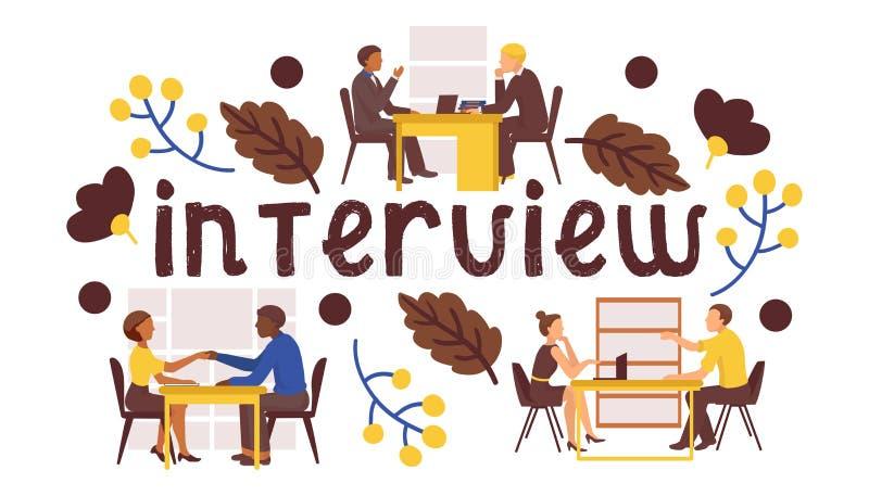 Illustration de vecteur d'entrevue d'emploi Les candidats répond à des questions sur l'entrevue d'emploi Recrutement de proffecio illustration stock