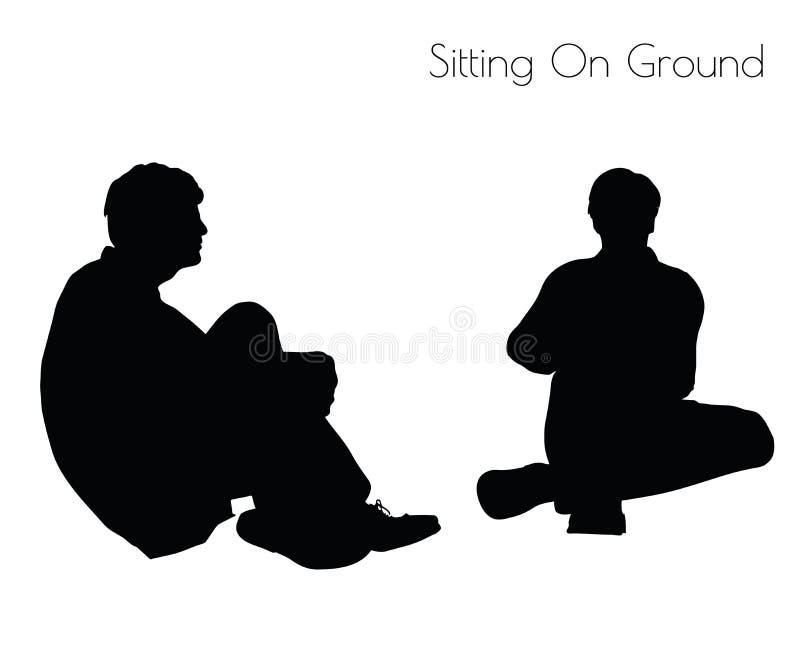 Illustration de vecteur d'ENV 10 de l'homme dans la pose se reposante sur la pose au sol sur le fond blanc illustration stock