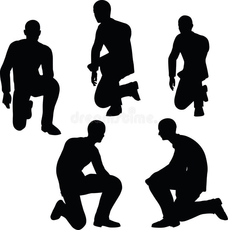Illustration de vecteur d'ENV 10 en silhouette du support d'homme d'affaires à se mettre à genoux illustration de vecteur