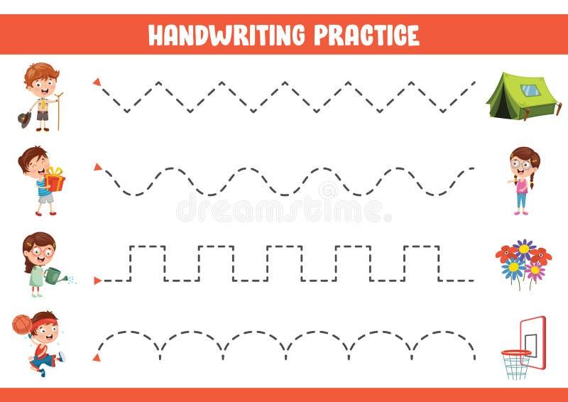 Illustration de vecteur d'exercice d'écriture illustration libre de droits
