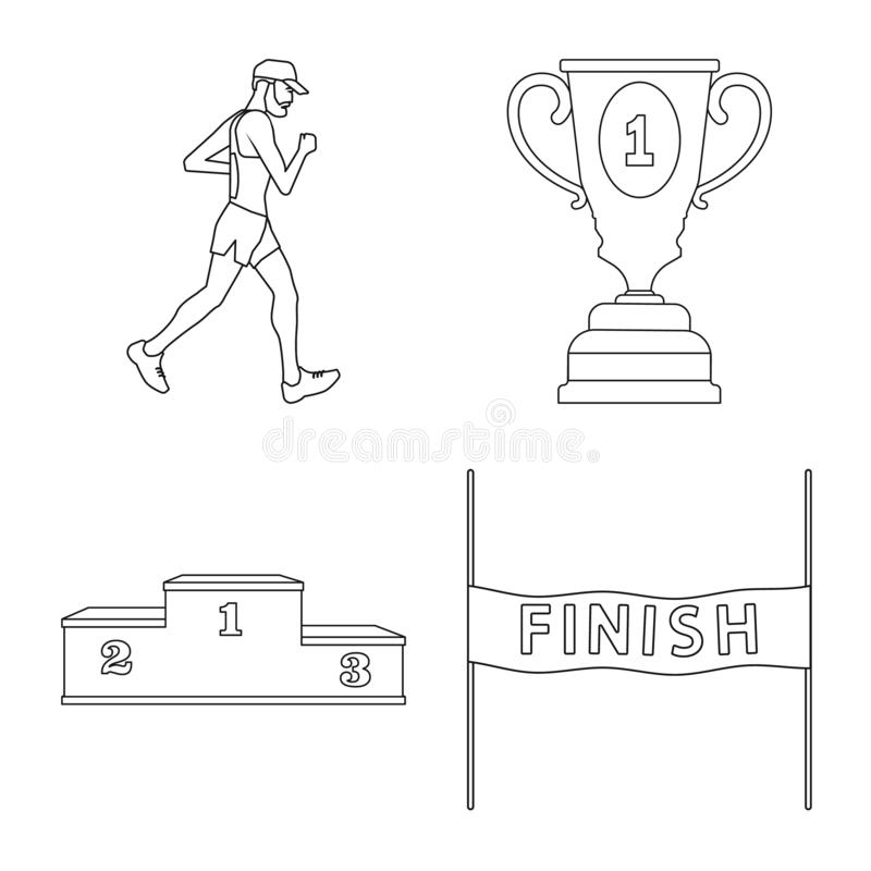 Illustration de vecteur d'exercice et de logo de sprinter Placez de l'illustration de vecteur d'actions d'exercice et de marathon illustration stock