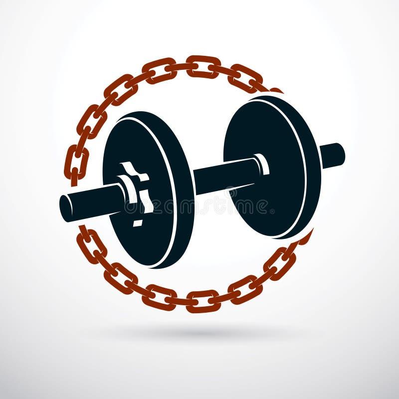 Illustration de vecteur d'haltère entourée par la chaîne de fer Forme physique W illustration libre de droits