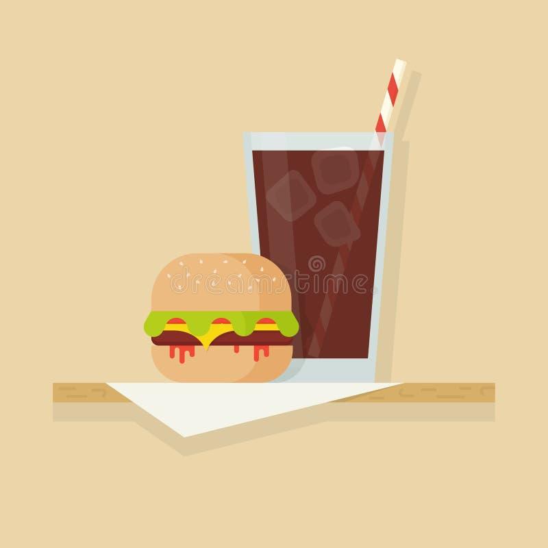 Illustration de vecteur d'hamburger et de boissons illustration stock