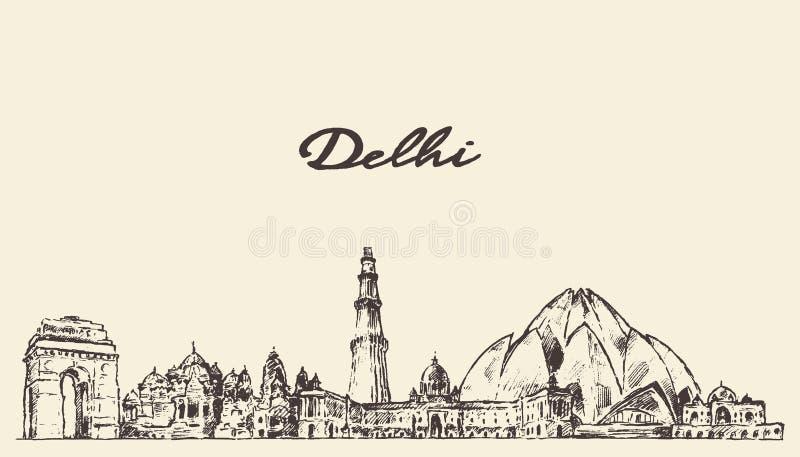 Illustration de vecteur d'horizon de Delhi tirée par la main illustration de vecteur