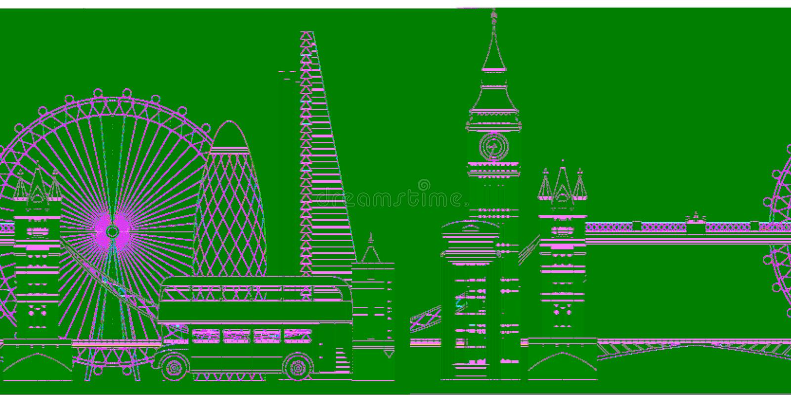 Illustration de vecteur d'horizon de Londres Sightseenigs c?l?bres de Londres illustration stock