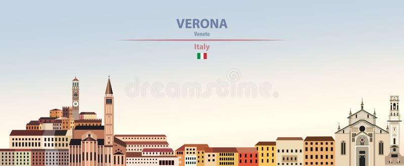 Illustration de vecteur d'horizon de ville de Vérone sur le beau fond de ciel de jour de gradient coloré avec le drapeau de l'Ita illustration stock