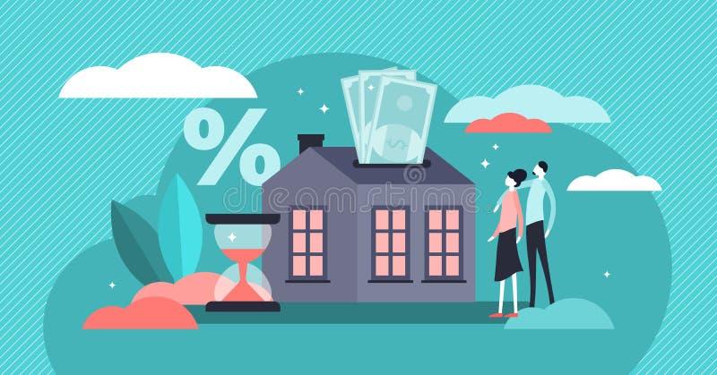 Illustration de vecteur d'hypoth?que Concept minuscule plat de personnes de dette d'achat de maison illustration stock
