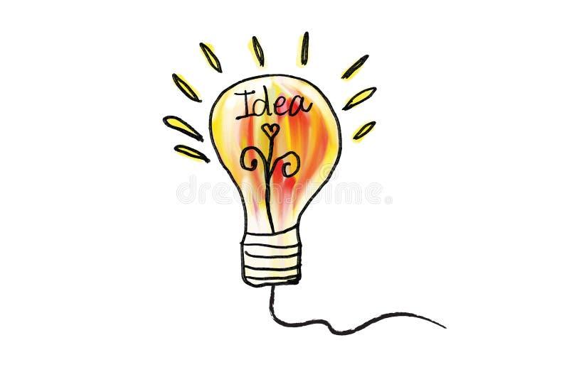 Illustration de vecteur d'icône d'ampoule de vecteur Concept ou pensée créative, signe tiré par la main de griffonnage illustration libre de droits