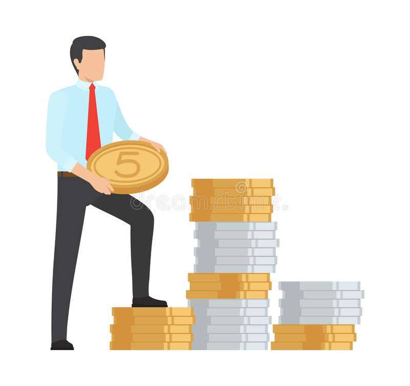 Illustration de vecteur d'icône d'argent d'économie d'homme illustration de vecteur