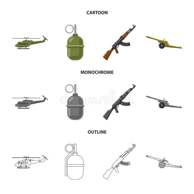 Illustration de vecteur d'icône d'arme et d'arme à feu Collection de l'illustration courante de vecteur d'arme et d'armée illustration libre de droits