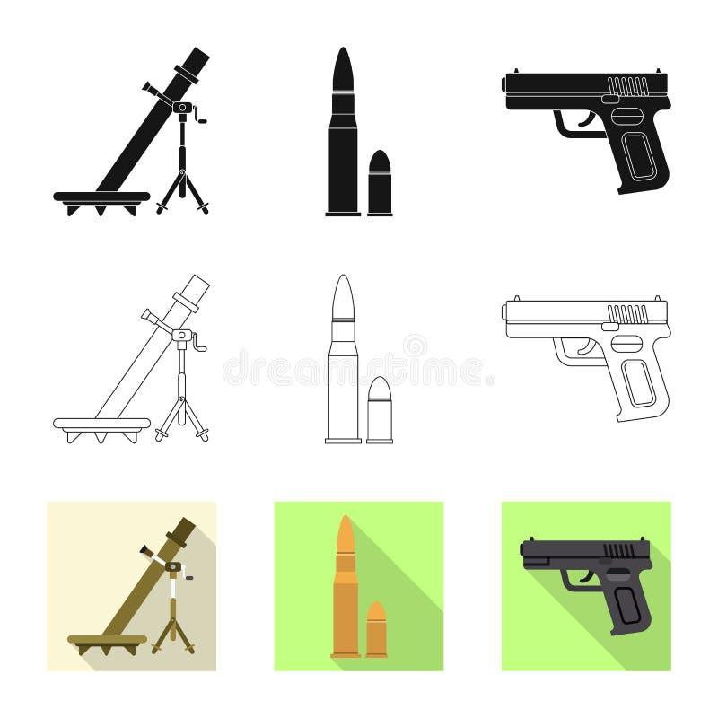 Illustration de vecteur d'icône d'arme et d'arme à feu Collection de symbole boursier d'arme et d'armée pour le Web illustration stock
