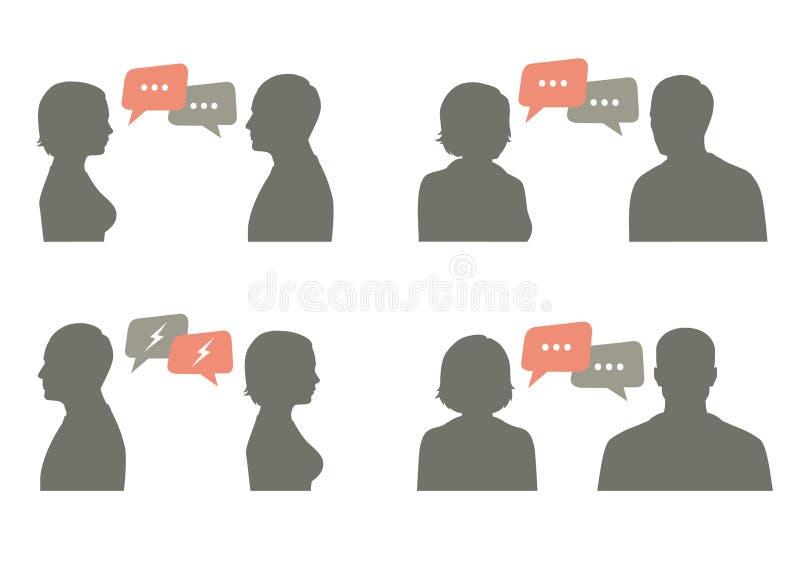 Illustration de vecteur d'icône d'entretien dialogue de couples illustration stock