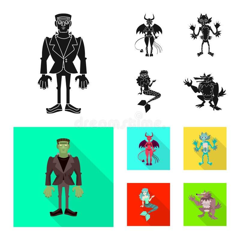 Illustration de vecteur d'icône de mystique et d'enfer Placez de l'icône de vecteur de mystique et de diablerie pour des actions illustration stock