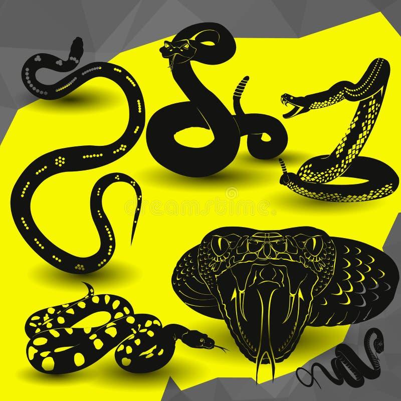 Illustration de vecteur d'icône de serpent à sonnettes de vipère illustration libre de droits