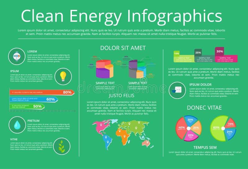 Illustration de vecteur d'Infographics d'énergie propre illustration libre de droits