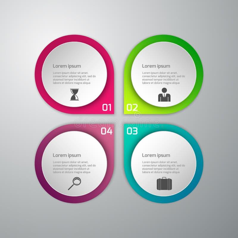 Illustration de vecteur d'infographics d'affaires 4 options Ensemble de illustration stock