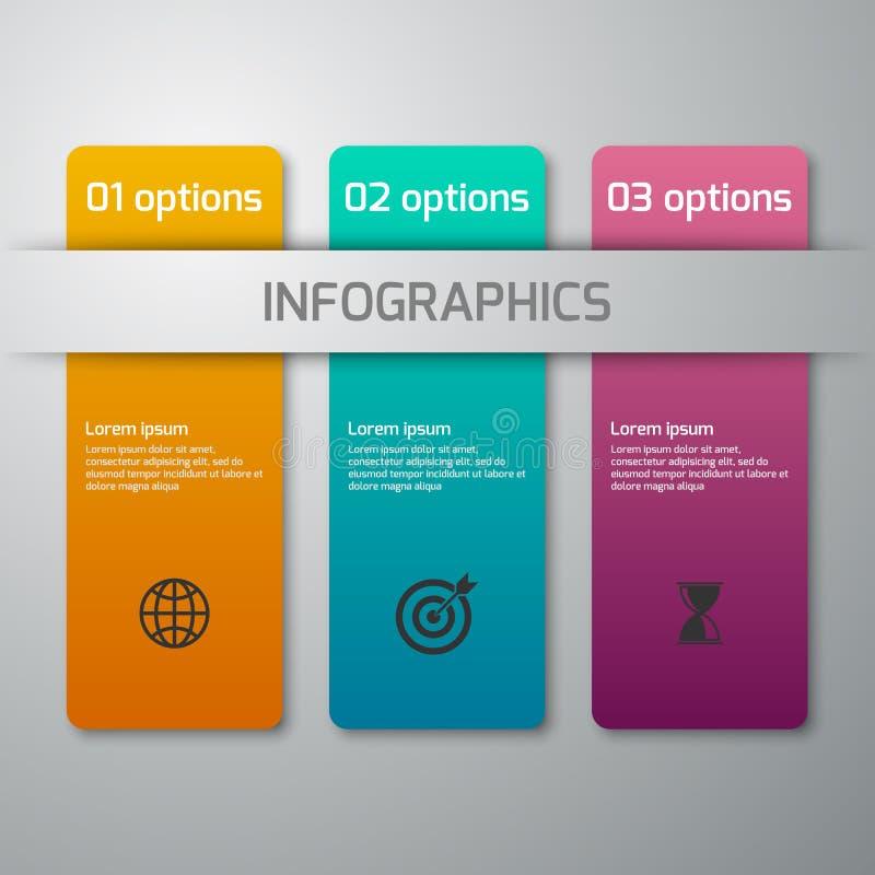 Illustration de vecteur d'infographics d'affaires 3 options Rectang illustration libre de droits