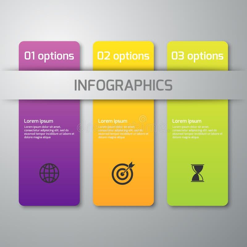 Illustration de vecteur d'infographics d'affaires 3 options Rectangles avec les coins arrondis illustration de vecteur