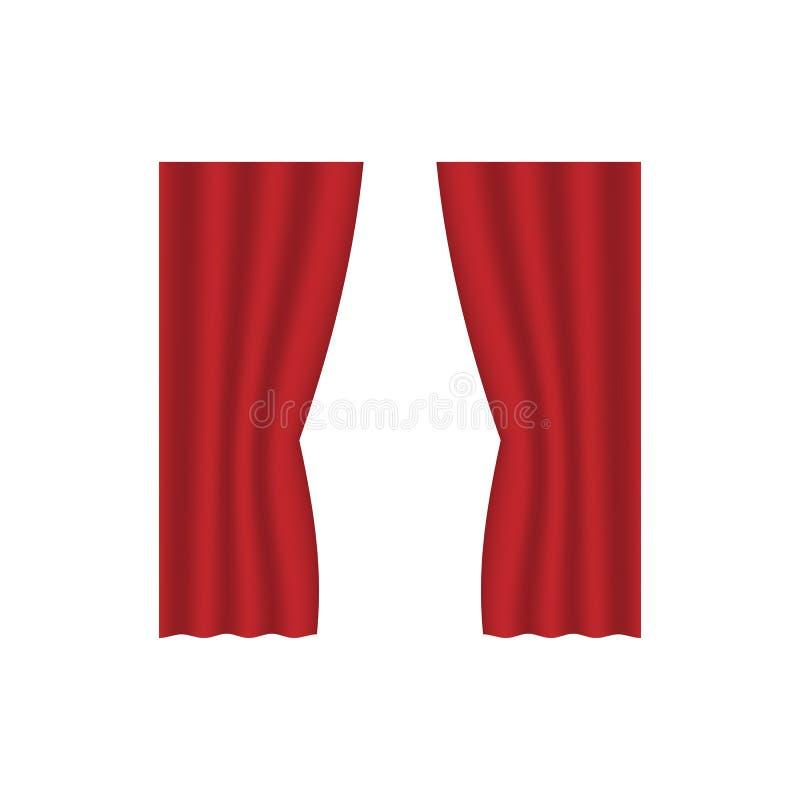 Illustration de vecteur d'isolement par collection réaliste rouge d'icône d'idée de conception de décoration intérieure de rideau illustration stock