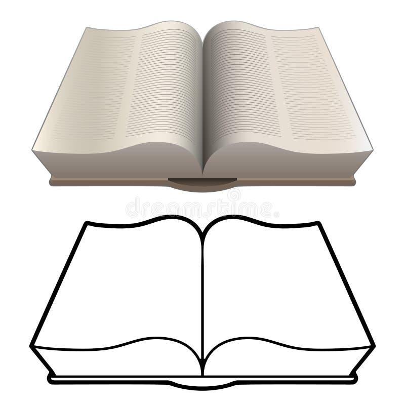 Illustration de vecteur d'isolement par livre lourd classique ouvert de style de bible dans la couleur détaillée et noir versions illustration stock