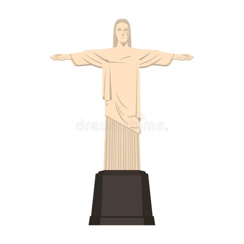 Illustration de vecteur d'isolement par monument de Redemeer le Christ Brésil illustration libre de droits