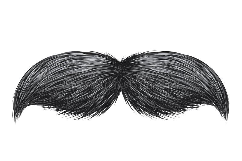 Illustration de vecteur d'isolement par moustache classique réaliste de cru rétro illustration stock