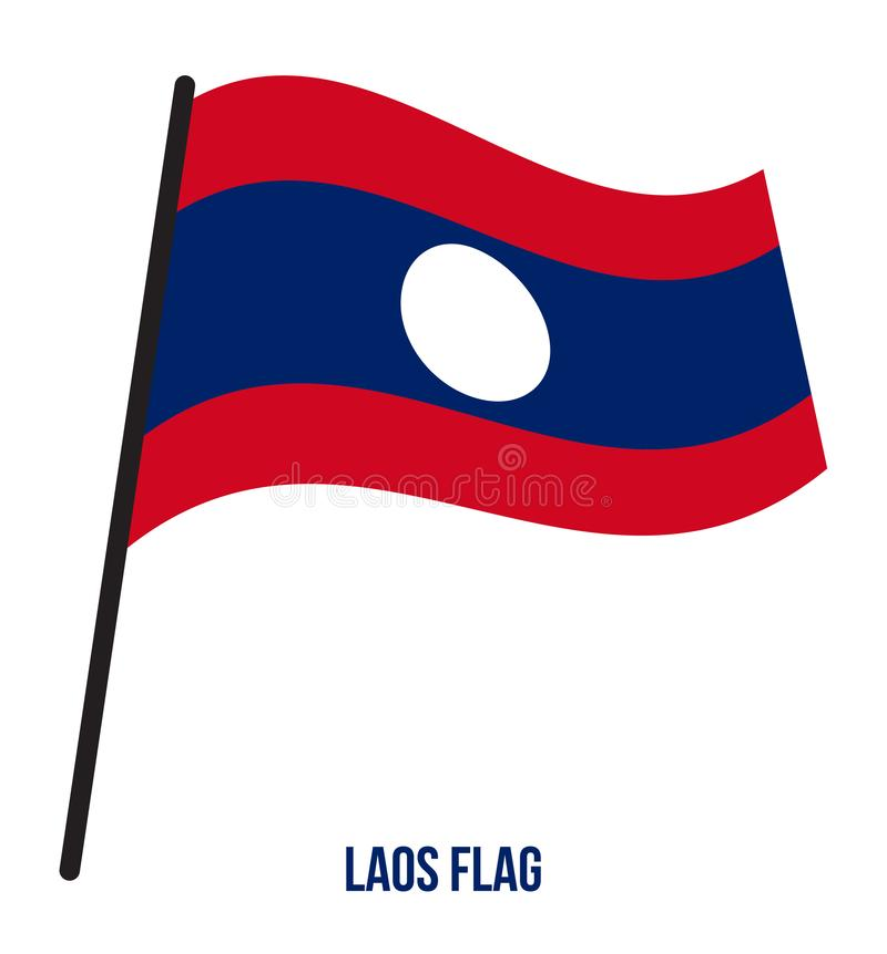 Illustration de vecteur d'ondulation de drapeau du Laos sur le fond blanc blanc national du Laos d'illustration d'indicateur de f illustration stock