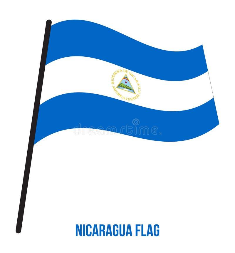 Illustration de vecteur d'ondulation de drapeau du Nicaragua sur le fond blanc Drapeau national du Nicaragua illustration libre de droits