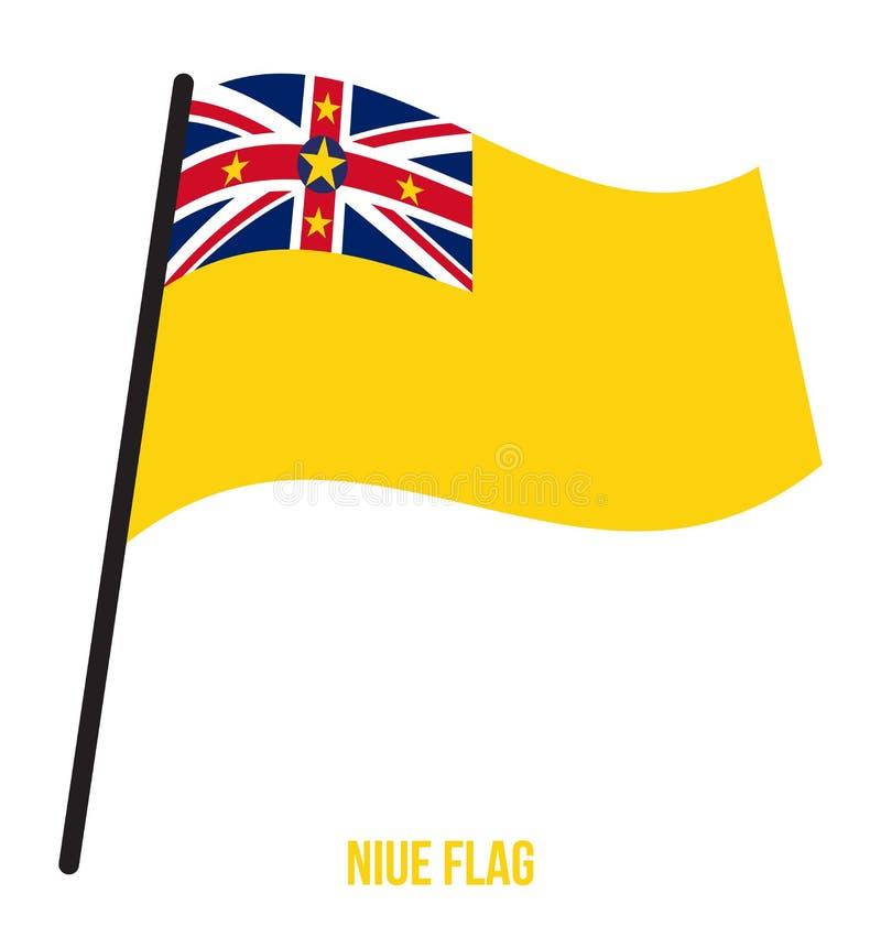 Illustration de vecteur d'ondulation de drapeau du Niué sur le fond blanc Drapeau national du Niué illustration de vecteur
