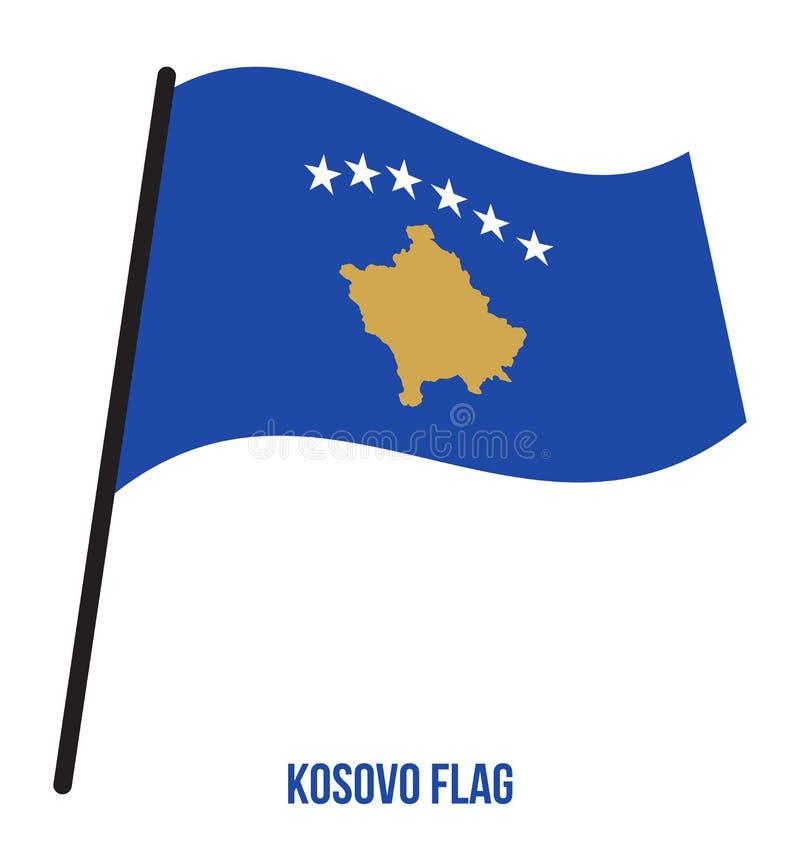Illustration de vecteur d'ondulation de drapeau de Kosovo sur le fond blanc E illustration stock