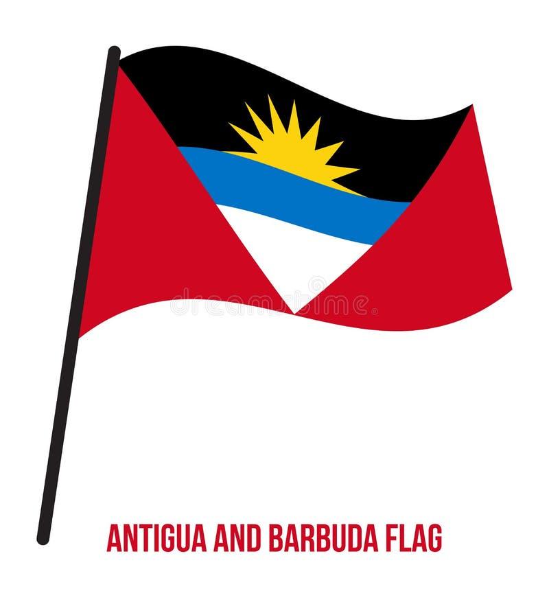 Illustration de vecteur d'ondulation de drapeau de l'Antigua-et-Barbuda sur le fond blanc Les Pays-Bas illustration libre de droits