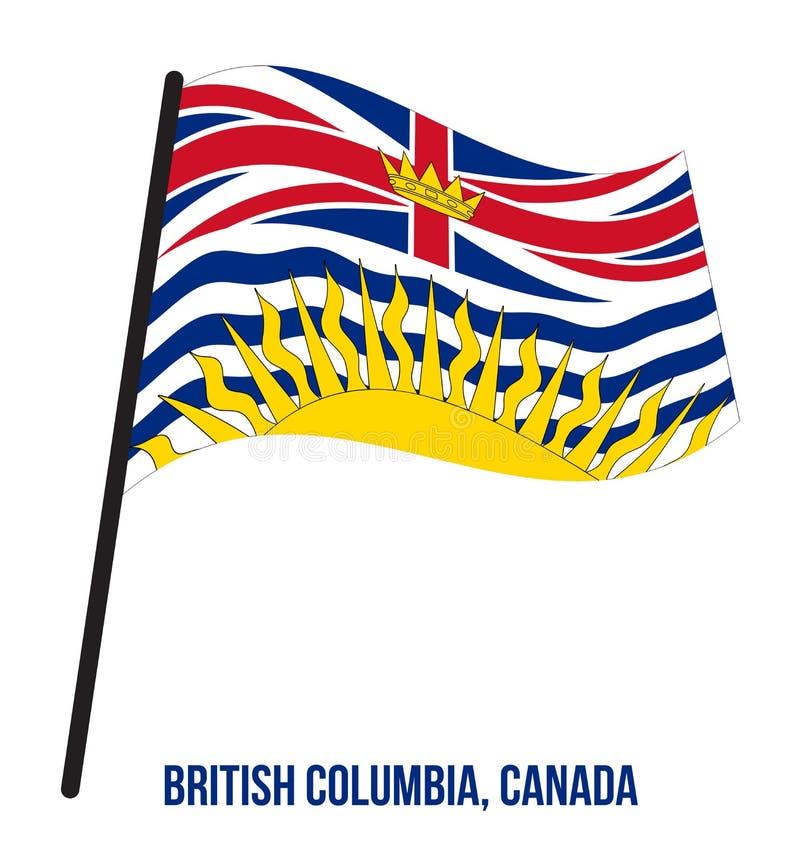 Illustration de vecteur d'ondulation de drapeau de la Colombie-Britannique sur le fond blanc Les provinces diminuent du Canada illustration de vecteur