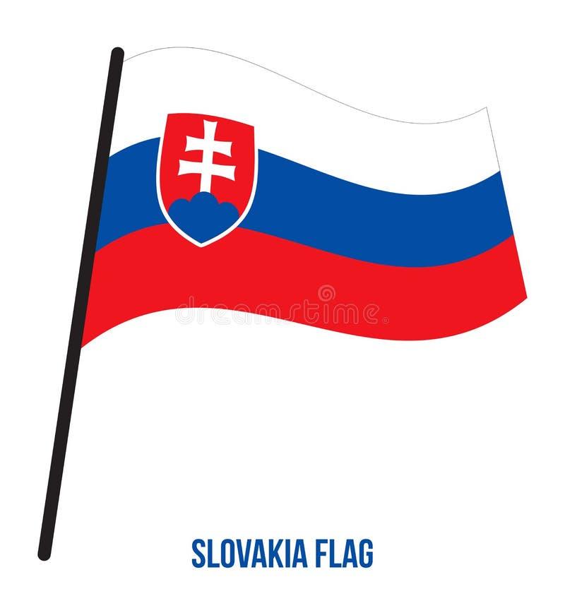Illustration de vecteur d'ondulation de drapeau de la Slovaquie sur le fond blanc blanc national de la Slovaquie d'illustration d illustration libre de droits