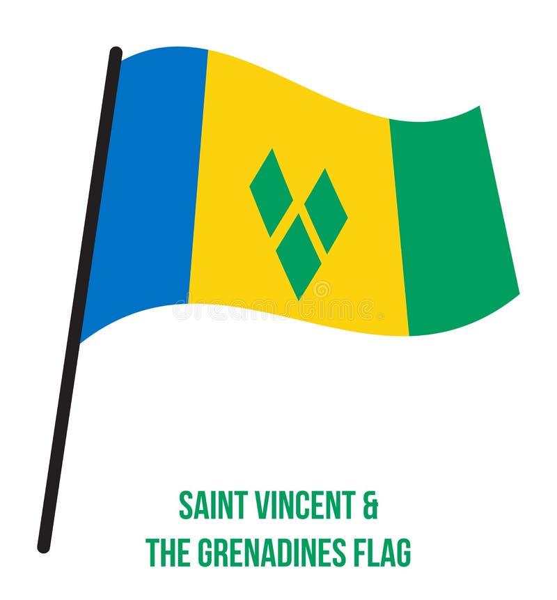 Illustration de vecteur d'ondulation de drapeau de Saint-Vincent-et-les-Grenadines sur le fond blanc Les Pays-Bas illustration de vecteur
