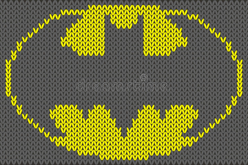Illustration de vecteur d'ornement tricotée par logo de Batman illustration stock