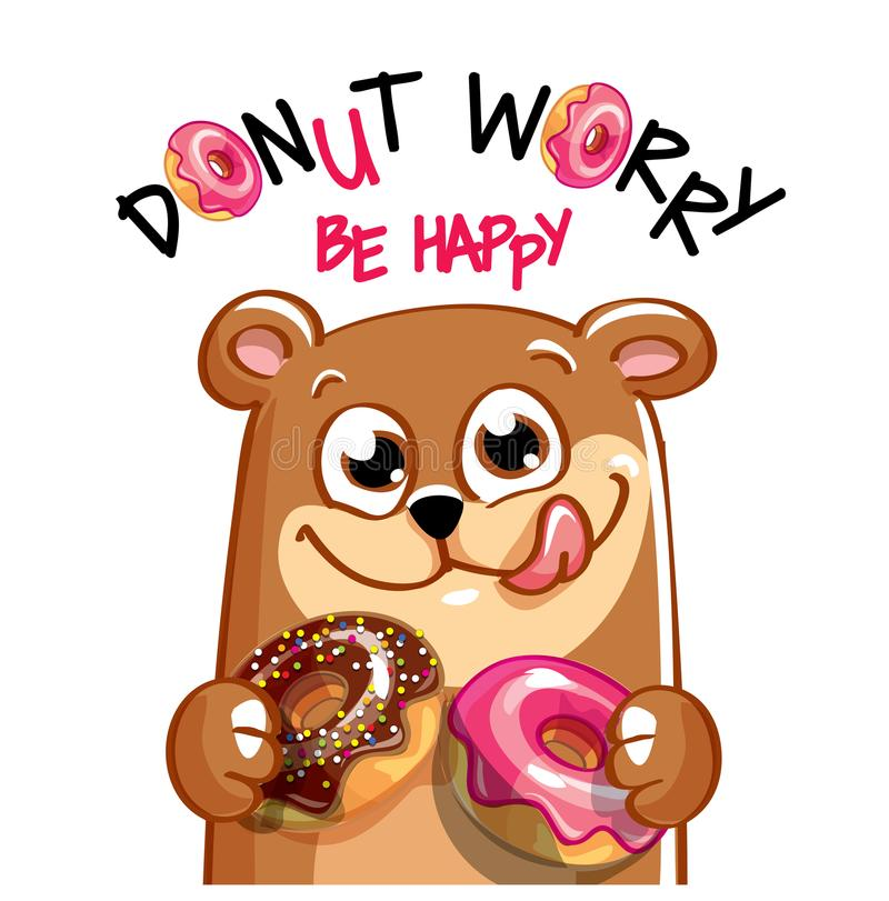 Illustration de vecteur d'ours de bande dessinée avec des butées toriques illustration stock