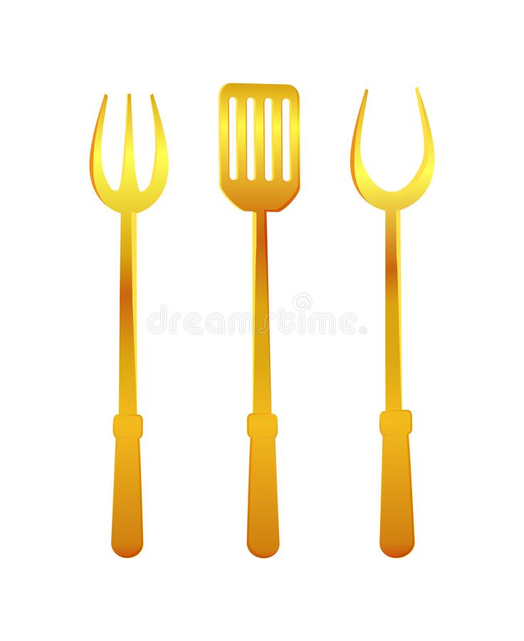 Illustration de vecteur d'outils de spatule et d'or de fourchette illustration stock